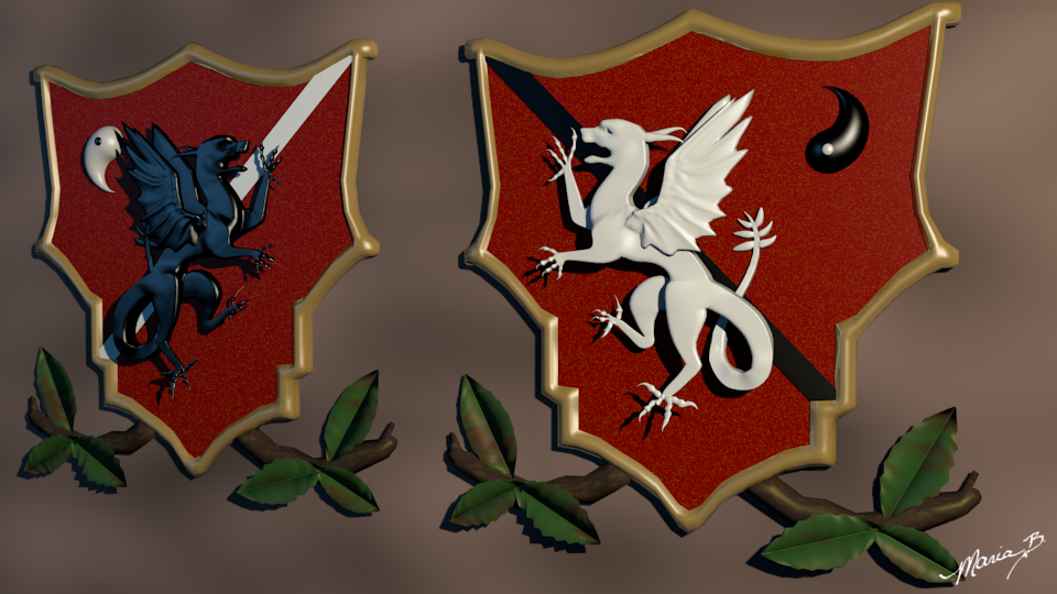 Crest pieces for our Tibia Guild - Dracos Imperius